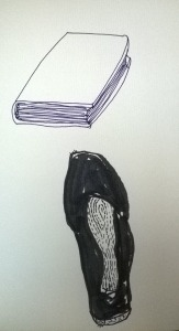 Dibujo de libro y zapatilla por la tarde